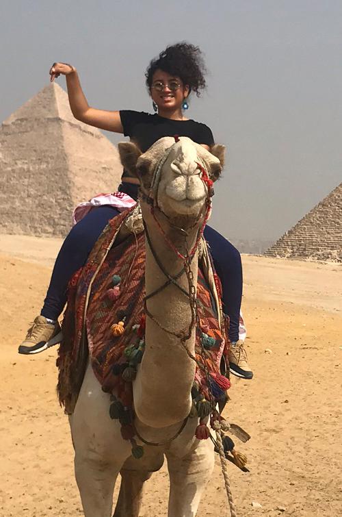 Brenda on a camel