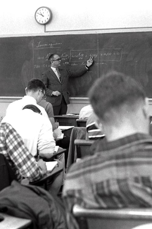 Bowdoin students in a math class, 1968
