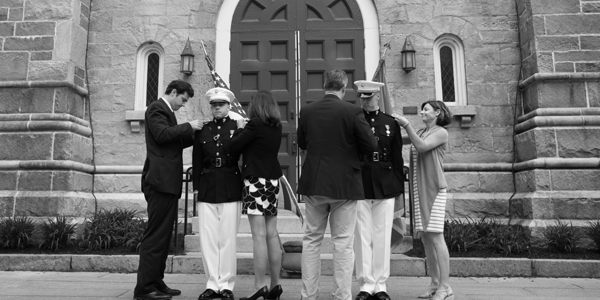 New USMC officers with their families at Bowdoin.
