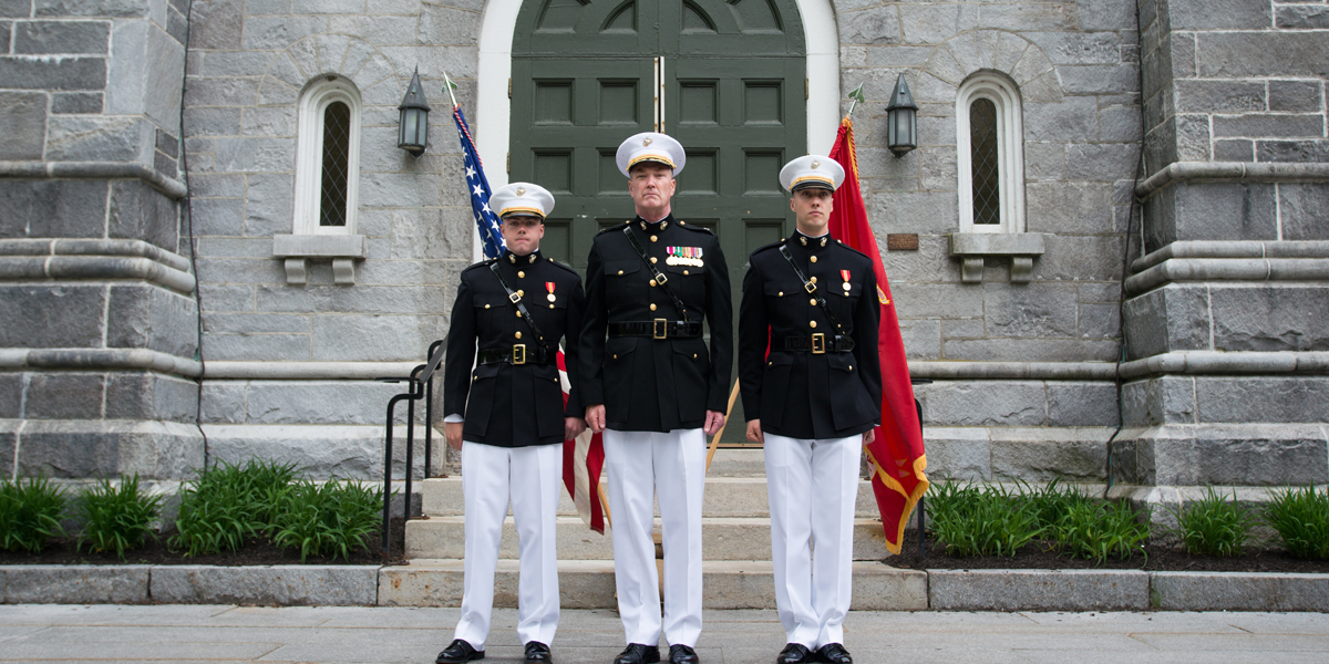 Newly commissioned USMC officers