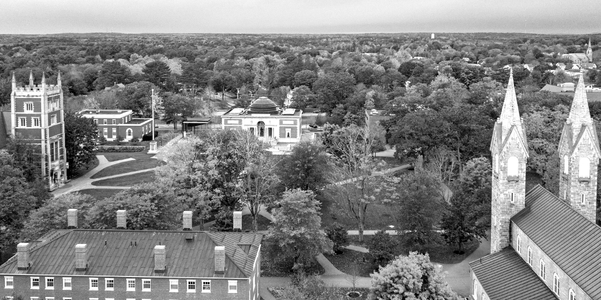 An aerial view of Bowdoin College in the fall.