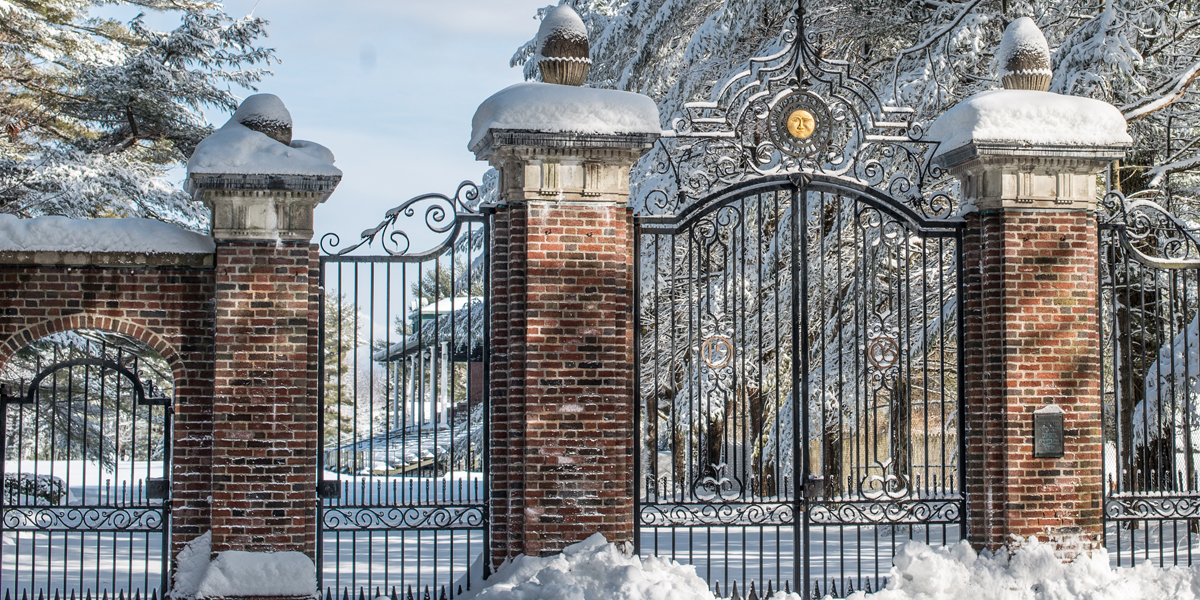 The gates to Whittier Field in winter