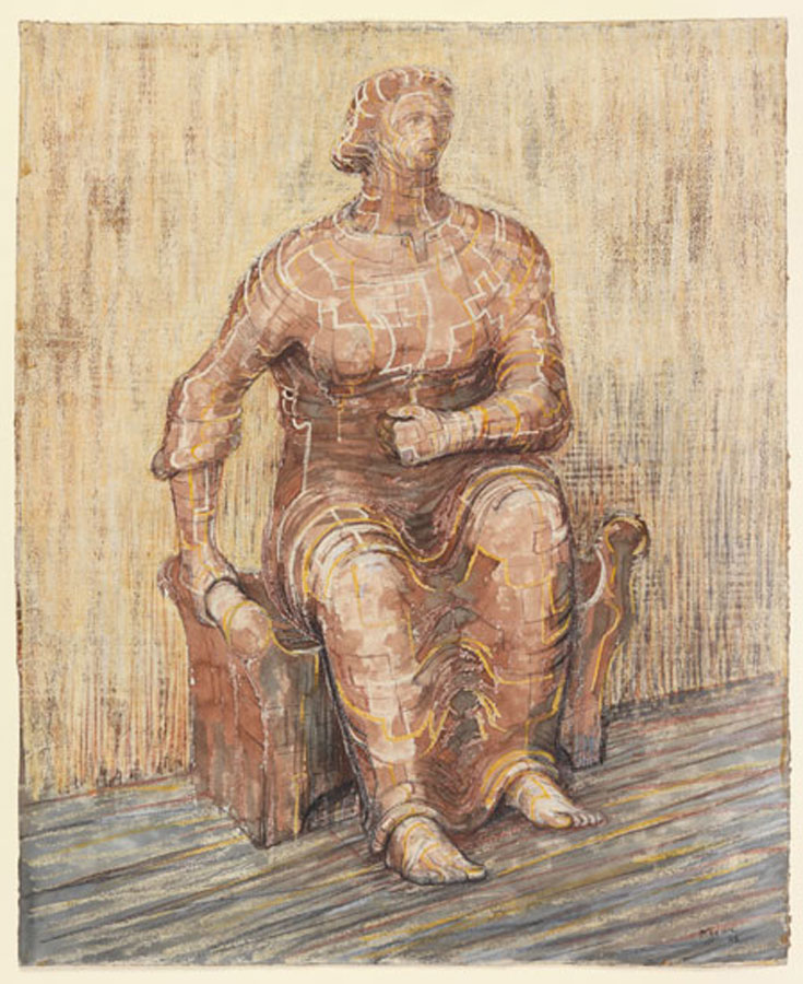 Henry moore the drawings works on paper from the henry for Drawing on wax paper