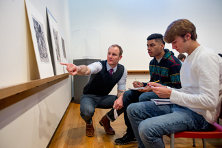 Jens Klenner, German Department, and Bowdoin students during a class in the Museum of Art