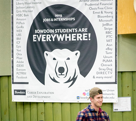 The CXD Jobs banner in Bowdoin's Smith Union