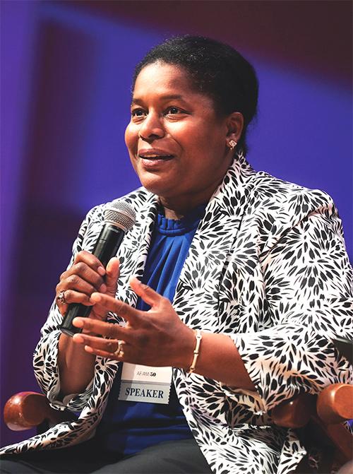 Marnita Thompson Eaddie '90 speaks on campus during the AFAM50 Celebration