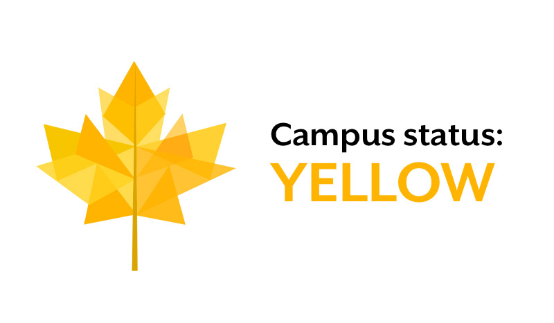Bowdoin's COVID-19 campus status is currently yellow.