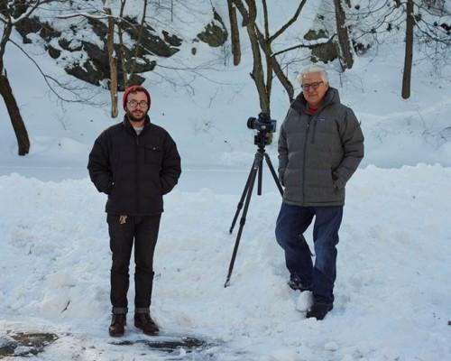 Abelardo Morell at right, with assistant Matt Cronin