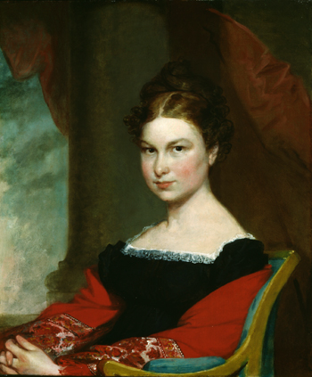"""Portrait of Mrs. Thomas C. Upham (née Phoebe Lord),"" ca. 1823, oil on canvas, by Gilbert Stuart. Gift of Edward D. Jameson. Bowdoin College Museum of Art."