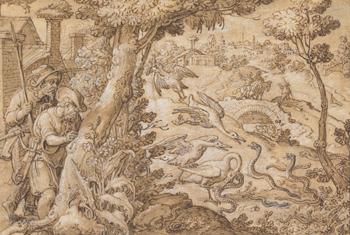 """""""Storks Fighting Snakes,"""" ca. 1596-1602, pen and dark brown ink, brown wash, by Jan van der Straet called Stradanus. Gift of Miss Susan Dwight Bliss. Bowdoin College Museum of Art."""