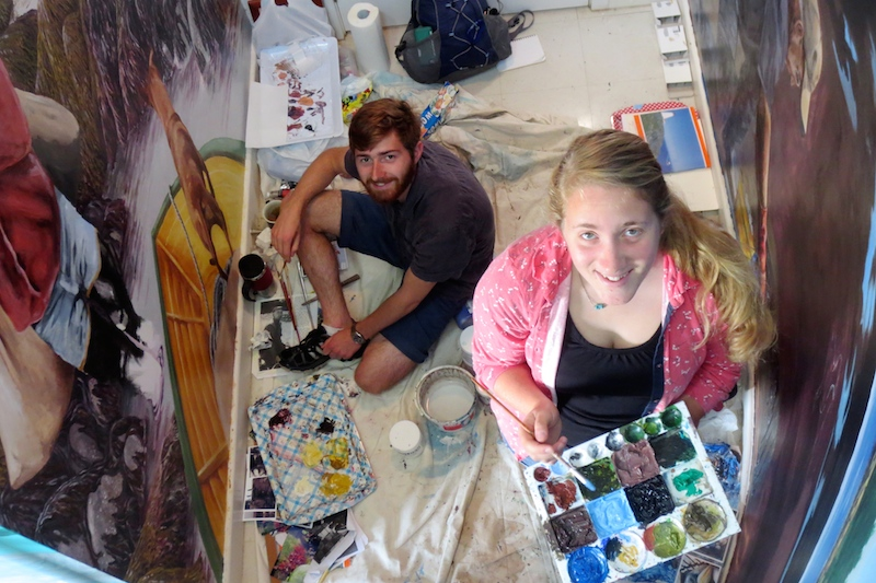 Isaac Jaegerman '16 and Tracey Faber '16 work in acrylic paints for their intertidal zone mural