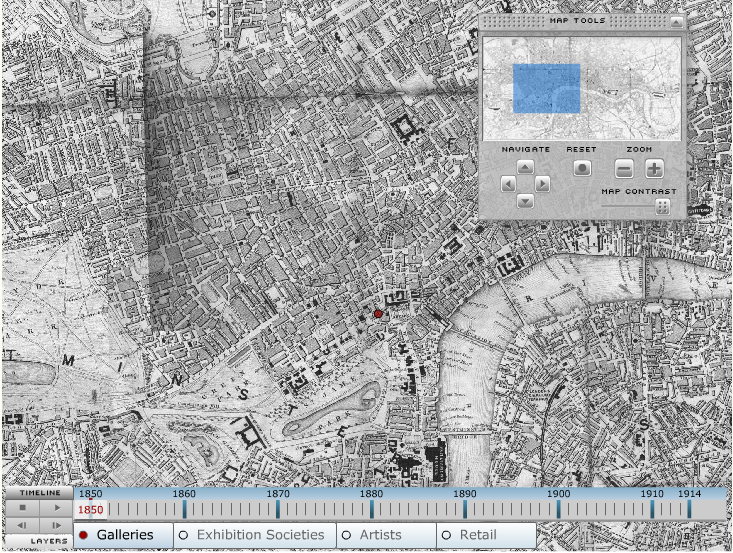 A screenshot of the interactive and zoomable map on the London Gallery Project website