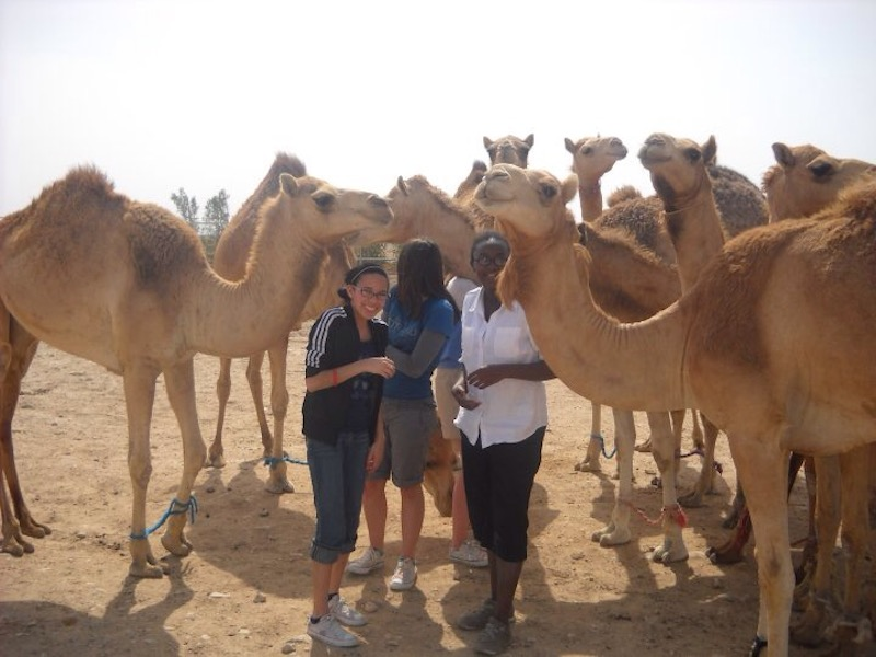 Sarah Washington, left, in Qatar