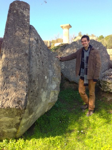 Harry Rube '16 at the Temple of Zeus at Olympia, the site of the original Olympics. Rube studied abroad last Spring in Athens.