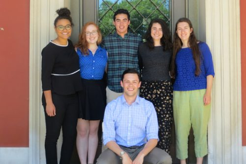 "left to right: Hailey Beaman '18; Virginia Crow '18; Michael Amano '17; Estefanía ""Steff"" Chávez-Flores '17; Catherine ""Ellis"" Price '18; and William Schweller '17. (Aleksia Silverman '19 is not pictured)"