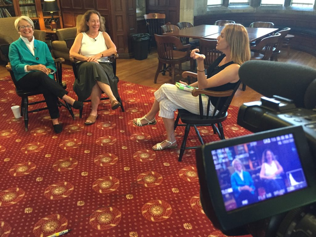 """Nancy Jennings (left) and Suzanne Lovett are interviewed by """"207"""" co-host Caroline Cornish in the Shannon Room, Hubbard Hall. Click image to view segment."""