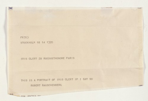 """This Is a Portrait of Iris Clert If I Say So,"" 1961, Telegram, by Robert Rauschenberg, 1925–2008, Collection Ahrenberg, Vevey, Switzerland. Art © Robert Rauschenberg Foundation/Licensed by VAGA, New York, New York"