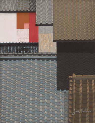 """""""Rooftops of Nagoya,"""" 1963, woodblock by Junichiro Sekino (1914-1988). Bowdoin College Museum of Art."""