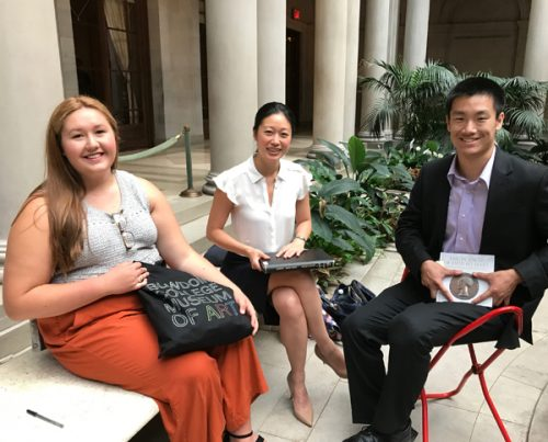 Amber Orosco '19, Aimee Ng, associate curator, The Frick Collection, and Ben Wu'18 during a recent research trip in New York City.
