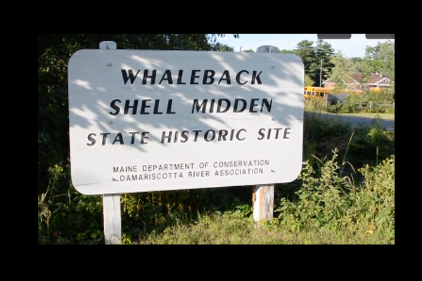 Sign for Whaleback Shell Midden State Historic Site