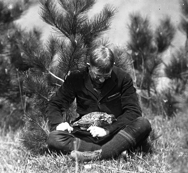 Alfred Otto Gross with Heath Hen, Martha's Vineyard, May 16, 1923