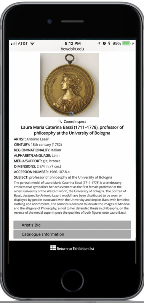 A screenshot featuring information about Antonio Lazari's 1732 medal Laura Maria Caterina Bassi