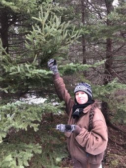 Baldecci '18 posing with a Spruce Tree