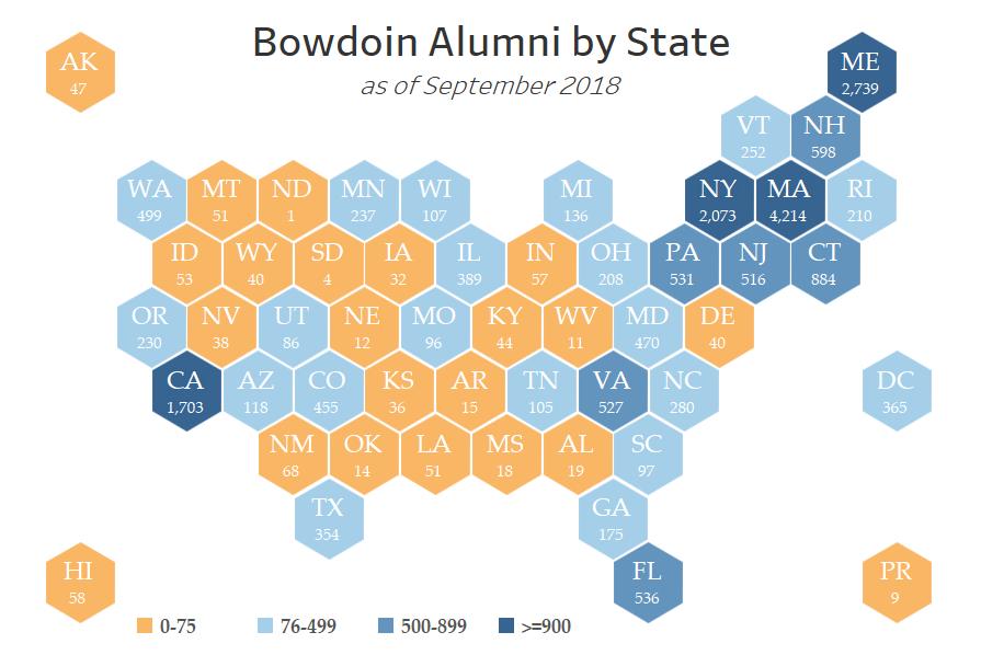Bowdoin Alumni by State 09/18