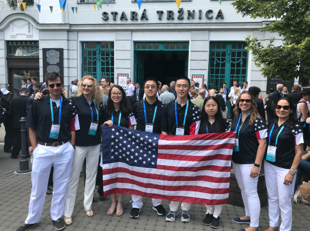 Michael Danahy (far left) with team USA (students and mentors) at the Olympiad opening ceremony in Bratislava