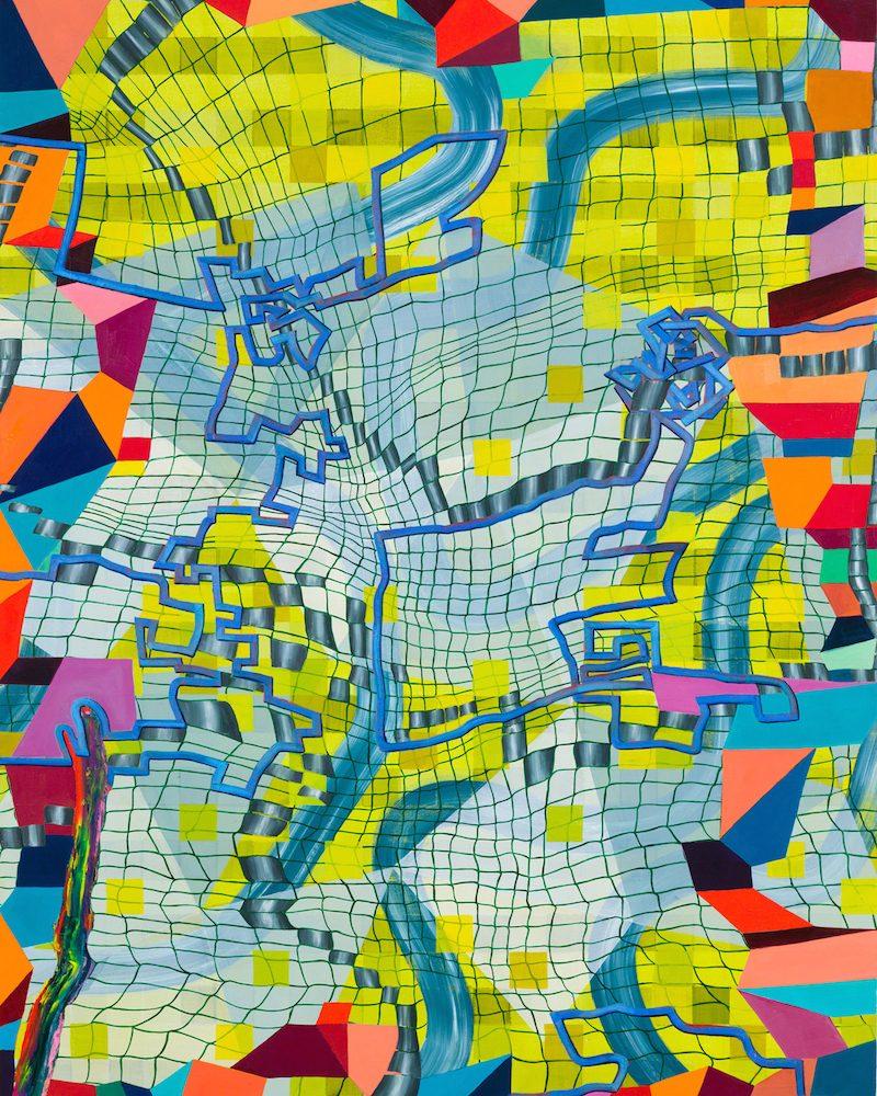 """Lisa Corinne Davis, """"Cerebral Calibration,"""" 2017. Oil on canvas. 60 x 45 inches"""