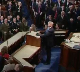 President Donald Trump delivering the SOTU address