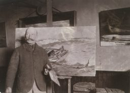 """Winslow Homer with 'The Gulf Stream' in his Studio,"" ca. 1900, gelatin silver print, by an unidentified photographer. Bowdoin College Museum of Art, Brunswick, Maine."