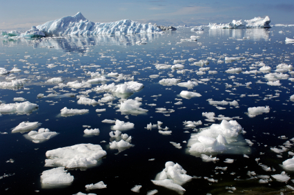 Arctic ice chunks in the ocean