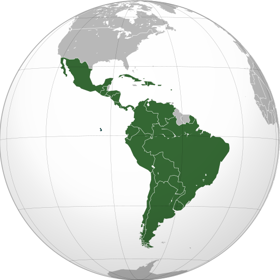 Map of Latin America on globe