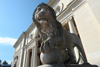 Lion on the steps of the Museum of Art