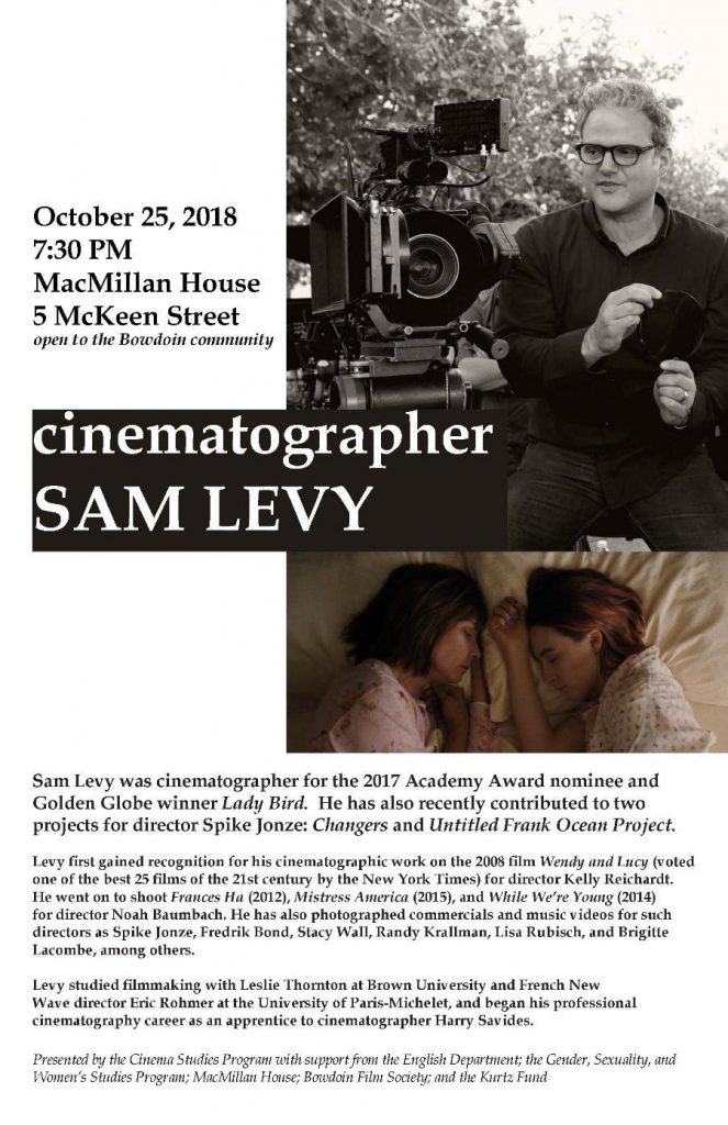 Poster of Sam Levy event