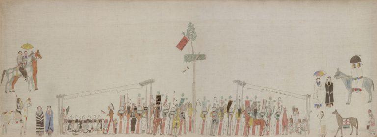 "Unidentified Lakota artist, ""Sun Dance Ceremony,"" ca. 1895. Bowdoin College Museum of Art."