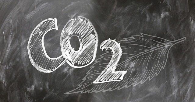 CO2 written on a chalkboard