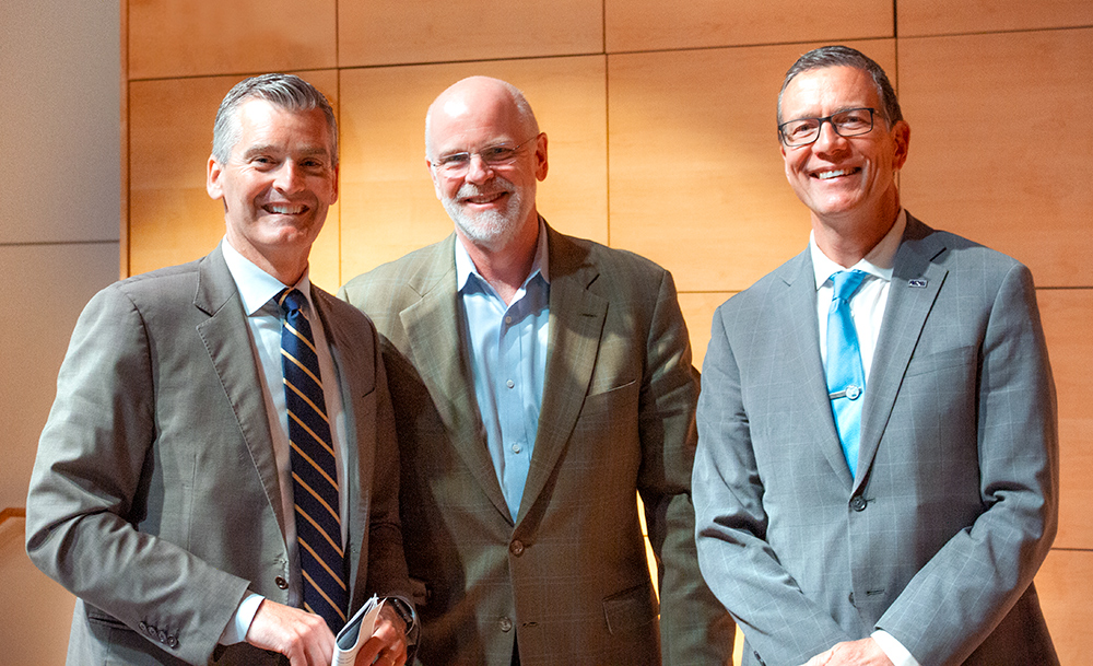 From left to right, presidents Glenn Cummings of USM, Clayton Rose of Bowdoin, and James Herbert of UNE.