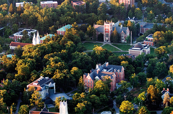 Aerial view of Bowdoin College
