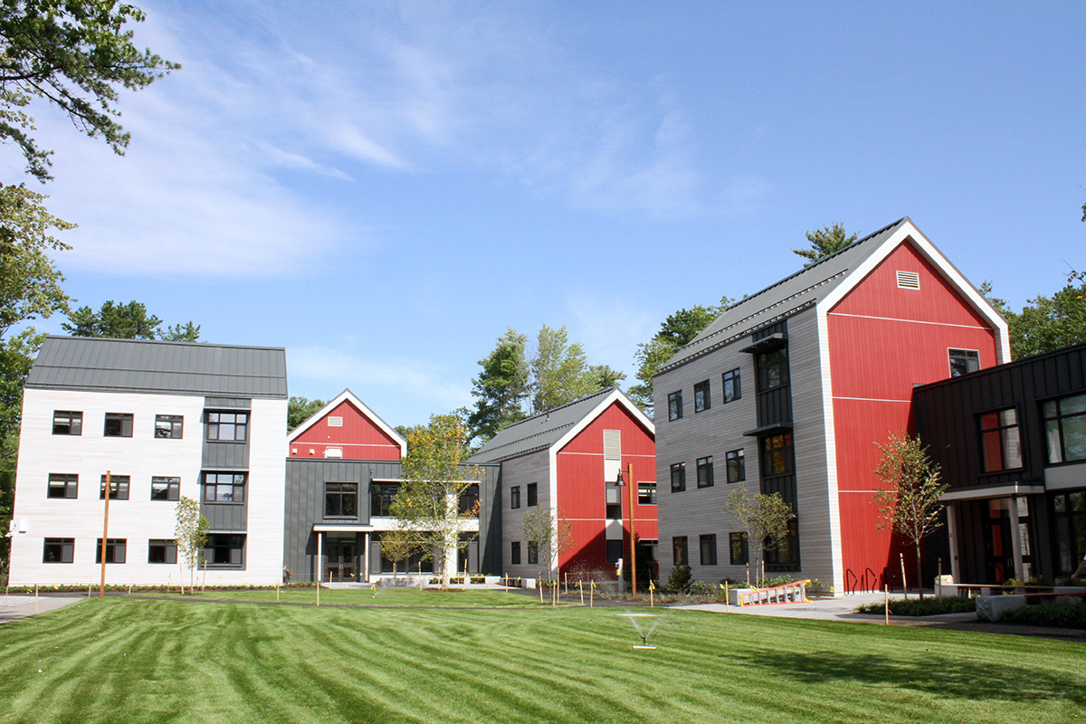 Exterior view of the green space shared by the new Harpswell Apartments.