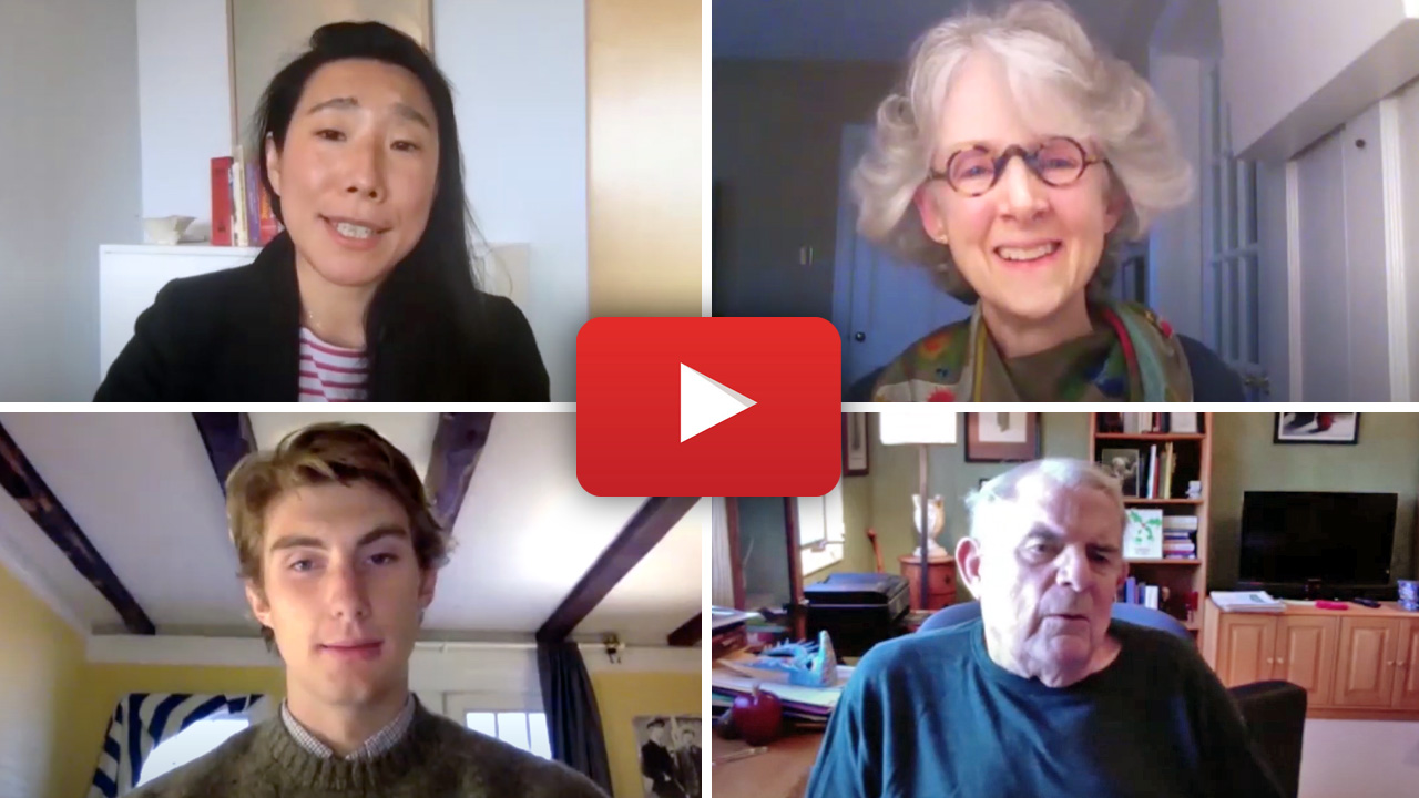 Thumbnail of the four participants in the video conversation