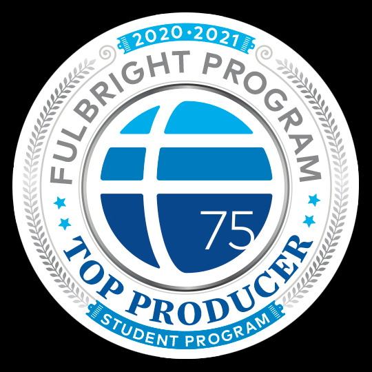 Fulbright Top Producer logo, 2020-2021