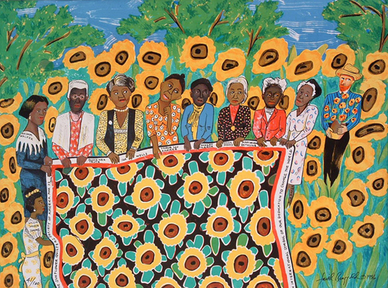 The Sunflower Quilting Bee at Arles, 1996, lithograph by Faith Ringgold, American, born 1930. Gift of Julie L. McGee, Class of 1982.