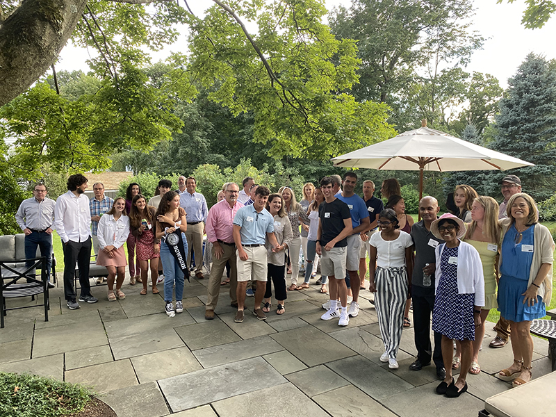 Send-off event in Connecticut, hosted bySteve and Suzy Lukens P'23 with Chris Lukens '23