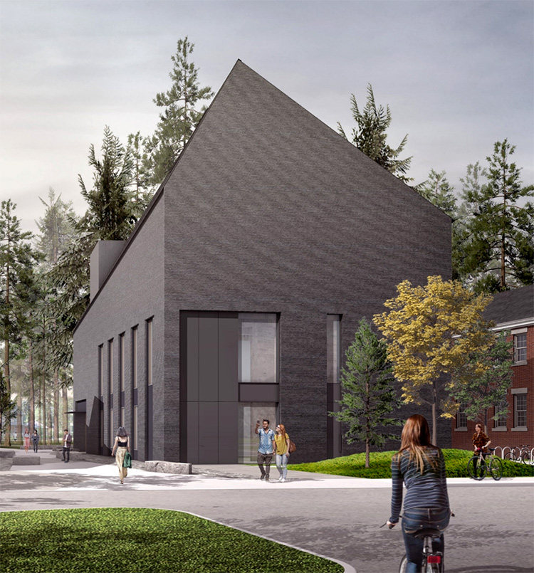 Exterior rendering of Bowdoin's new Gibbons Center for Arctic Studies