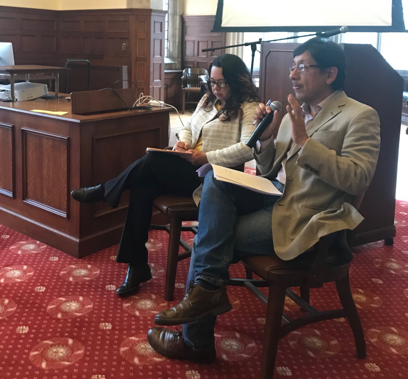 """Felix Reategui and Irina Junieles, answering questions from students attending the colloquium """"Memory, Truth and Justice: Lessons from the Peace Processes in South America"""""""