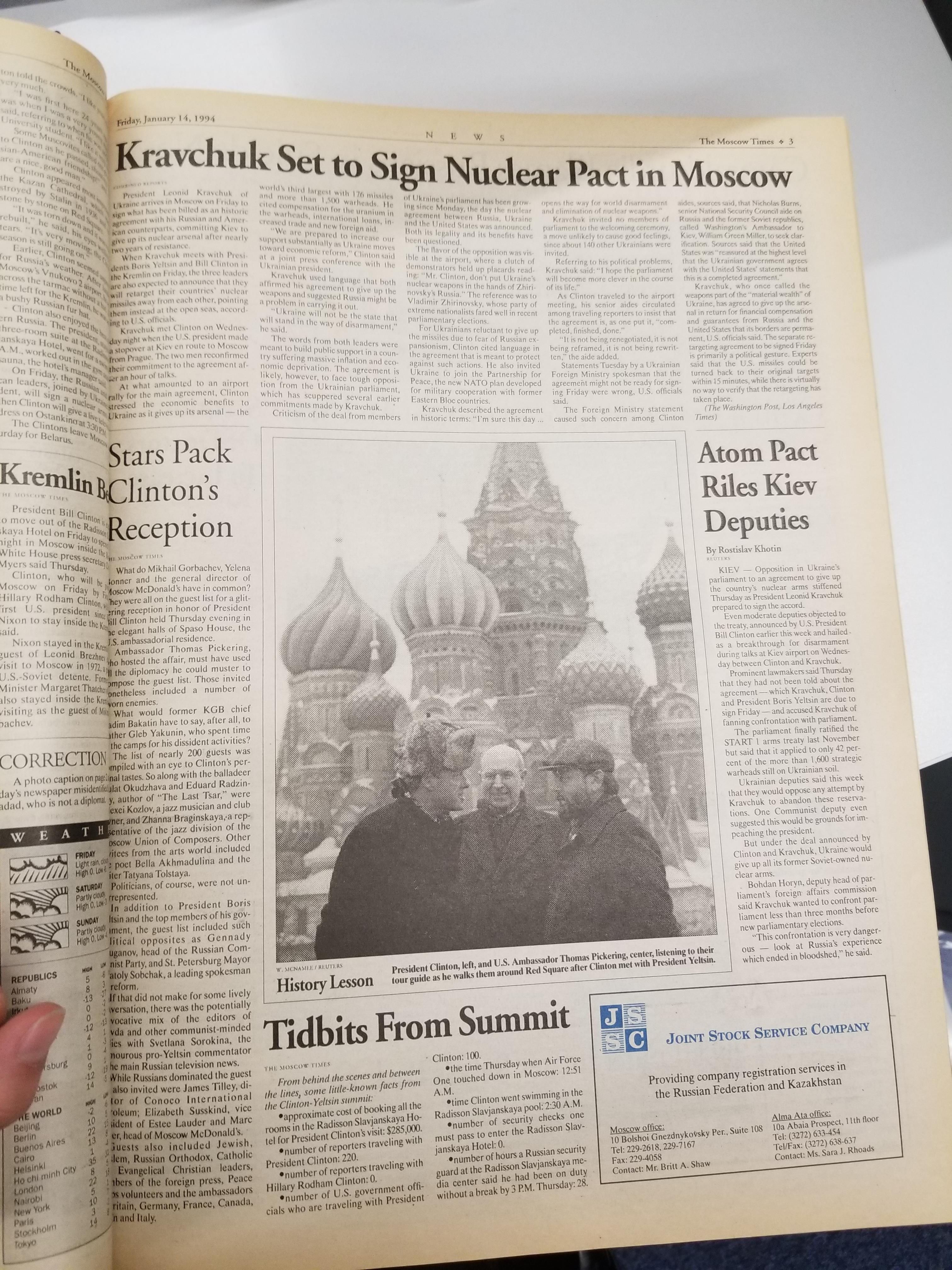 """When Laura Howells was searching the paper's microfiche archives (it was founded in 1992), looking for early mentions of Vladimir Putin (""""he was a nobody for a long time, and then all of a sudden he appeared,"""" she said), she came across photos of Thomas Pickering '53, H'84. Pickering was the U.S. ambassador for Russia from 1993 to 1996."""